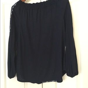 White House Black Market Tops - WHBM Long Sleeve Embroidered Tie Front Top Size M